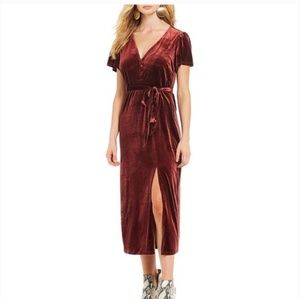 Sanctuary Airy Night Velvet V Neck Midi Dress